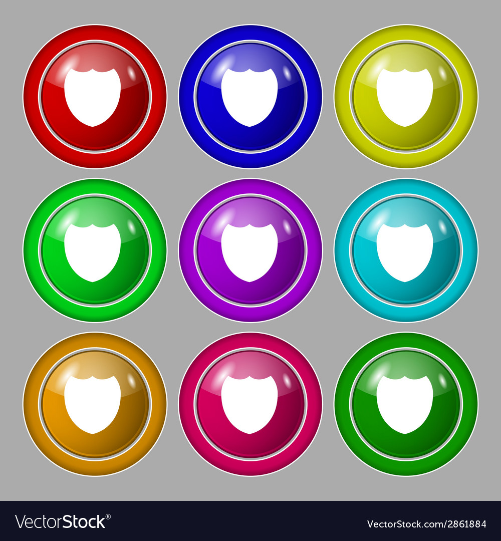 Shield sign icon protection symbol set colour vector | Price: 1 Credit (USD $1)