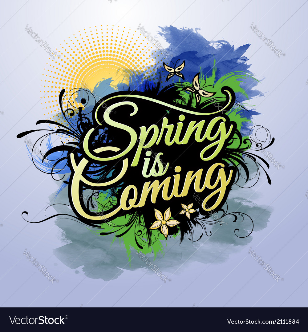 Spring is coming inscription vector | Price: 1 Credit (USD $1)