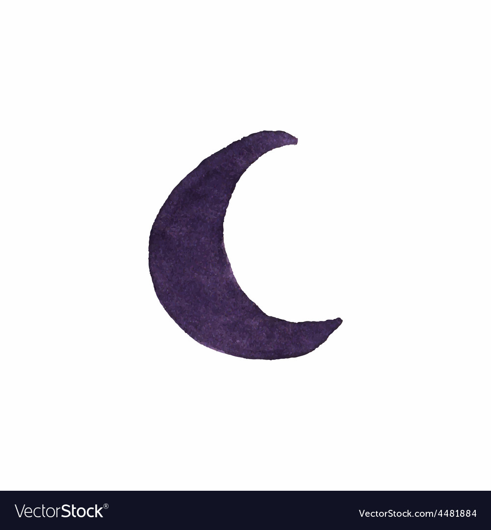 Watercolor crescent on the white background vector | Price: 1 Credit (USD $1)