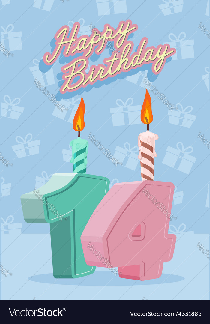 14 years celebration 14nd happy birthday vector | Price: 1 Credit (USD $1)