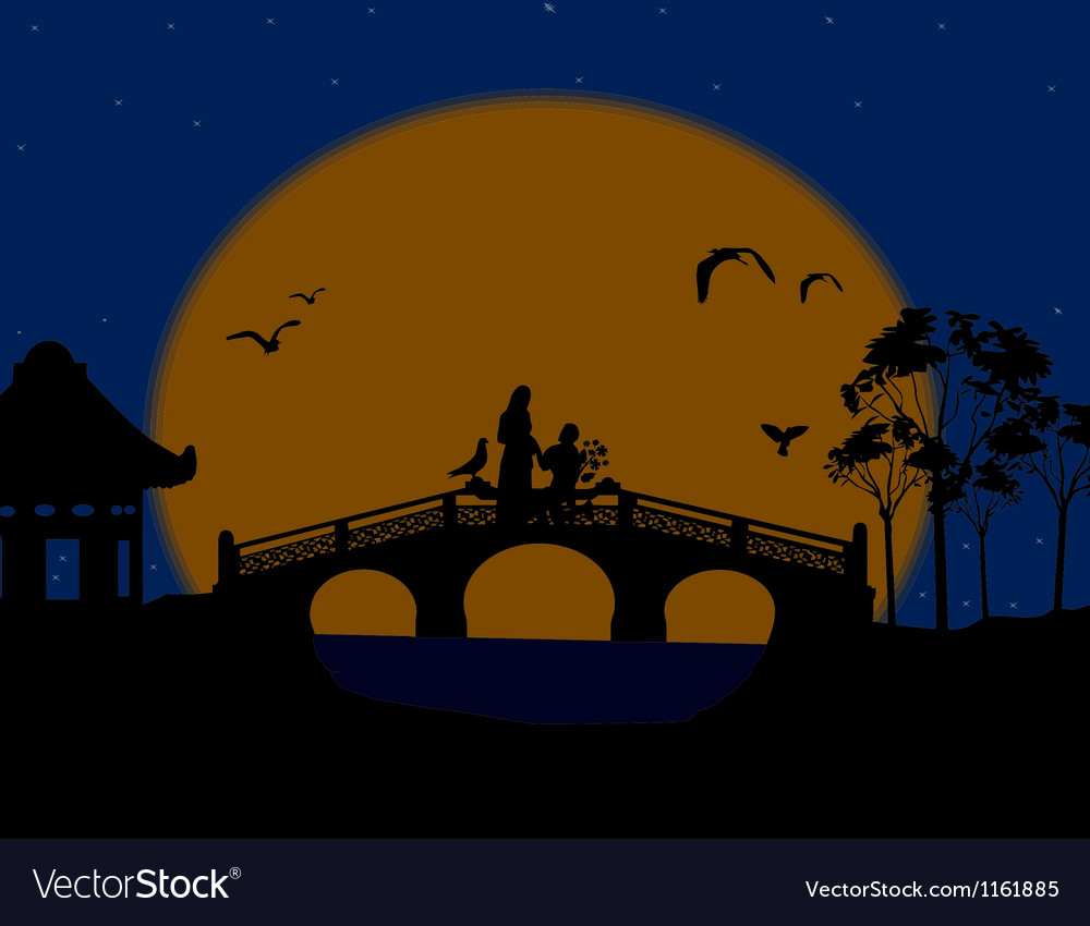 Asia at night landscape with lovers on the bridge vector | Price: 1 Credit (USD $1)