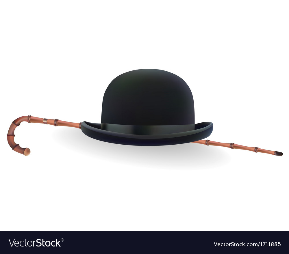 Bowler hat and bamboo cane vector | Price: 1 Credit (USD $1)