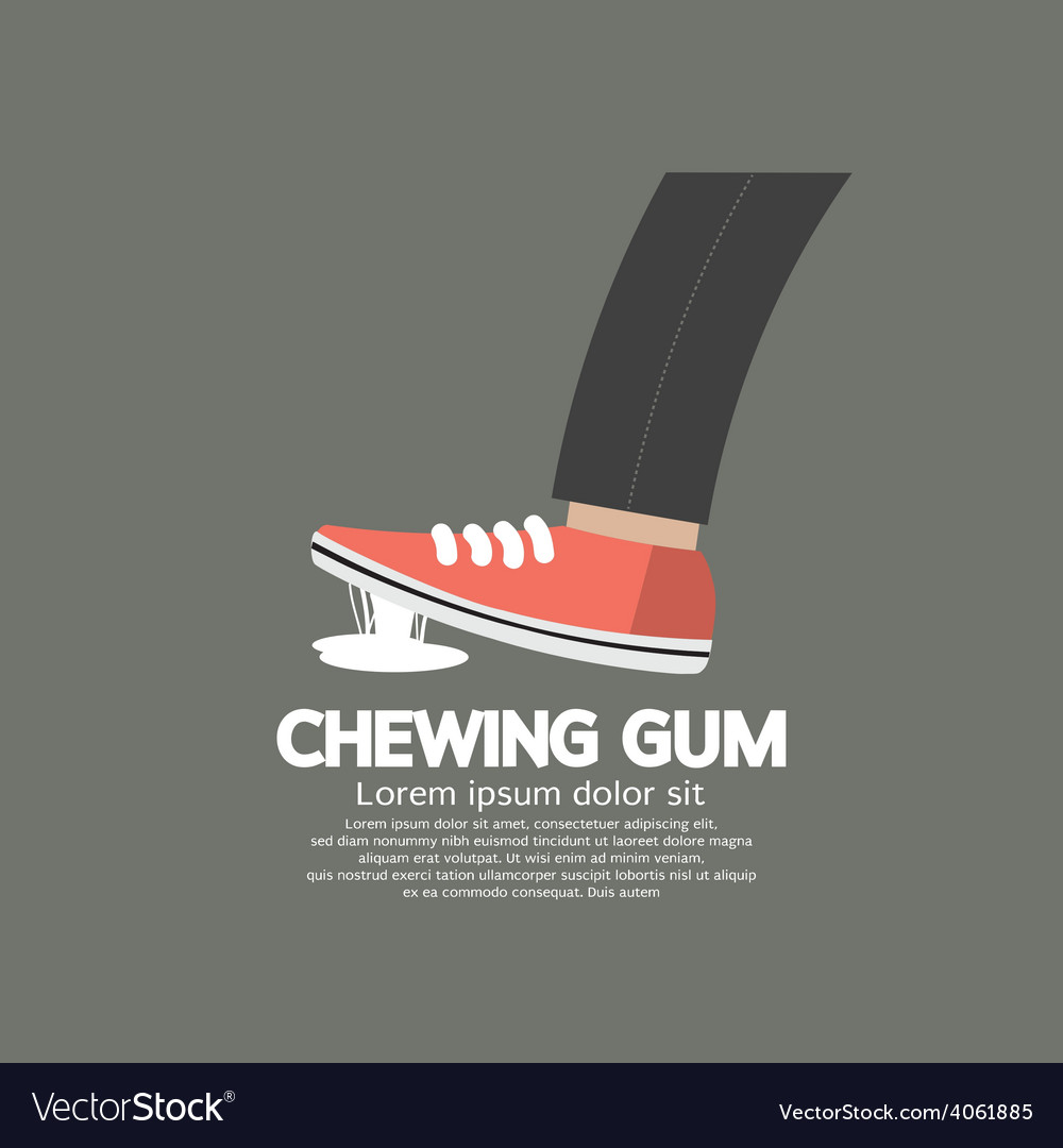 Foot stuck into chewing gum on street vector | Price: 1 Credit (USD $1)