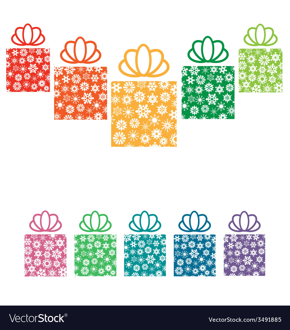 Gift boxes with snowflakes on white vector | Price: 1 Credit (USD $1)