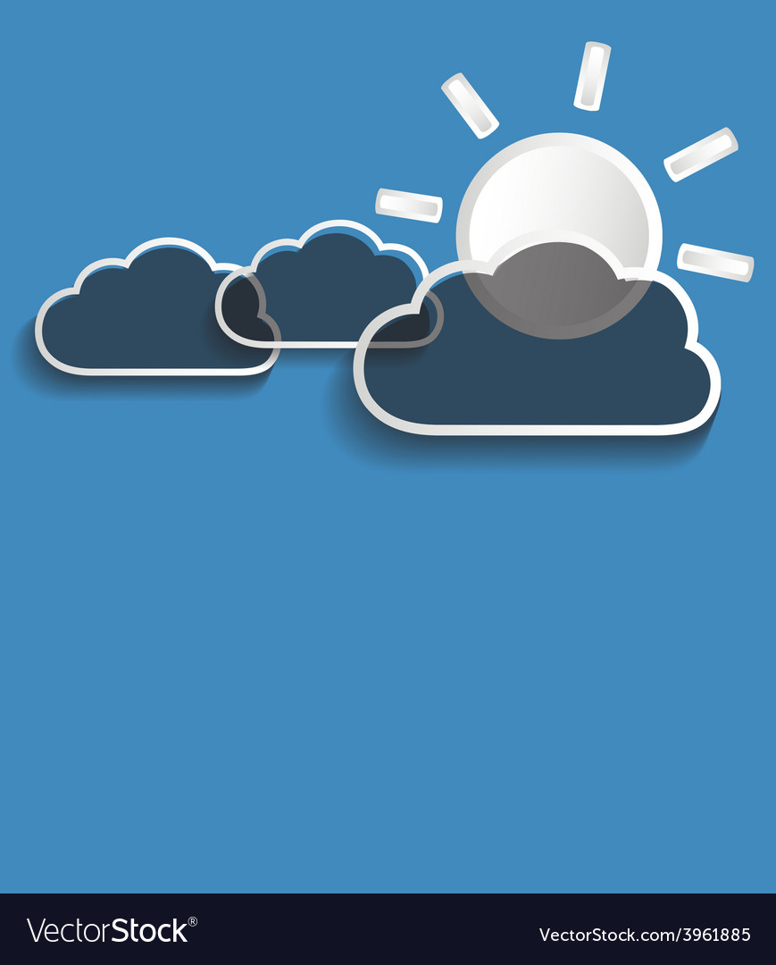 Grey clouds with sun vector | Price: 1 Credit (USD $1)