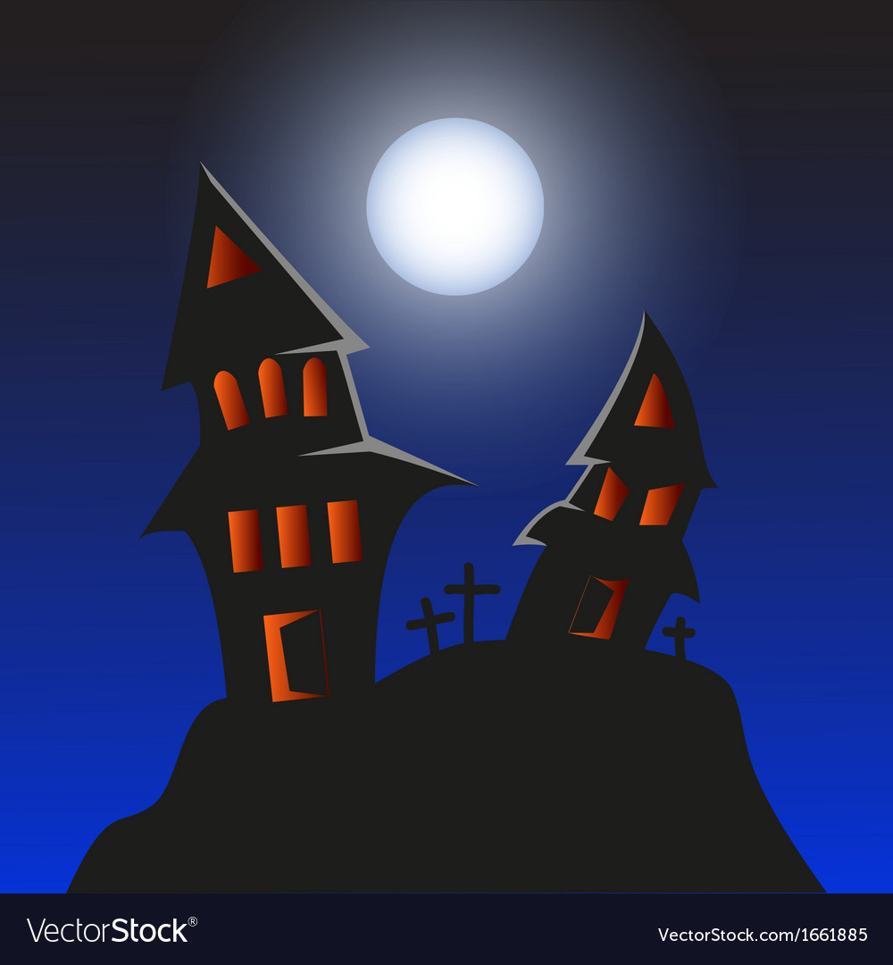 Haunted monster house - halloween background vector | Price: 1 Credit (USD $1)