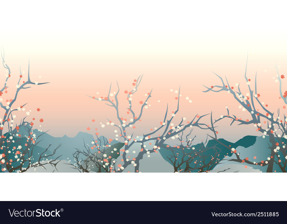 Japan landscape vector | Price: 1 Credit (USD $1)