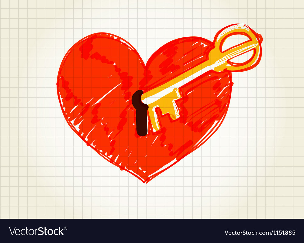 Key is opening the heart vector | Price: 1 Credit (USD $1)