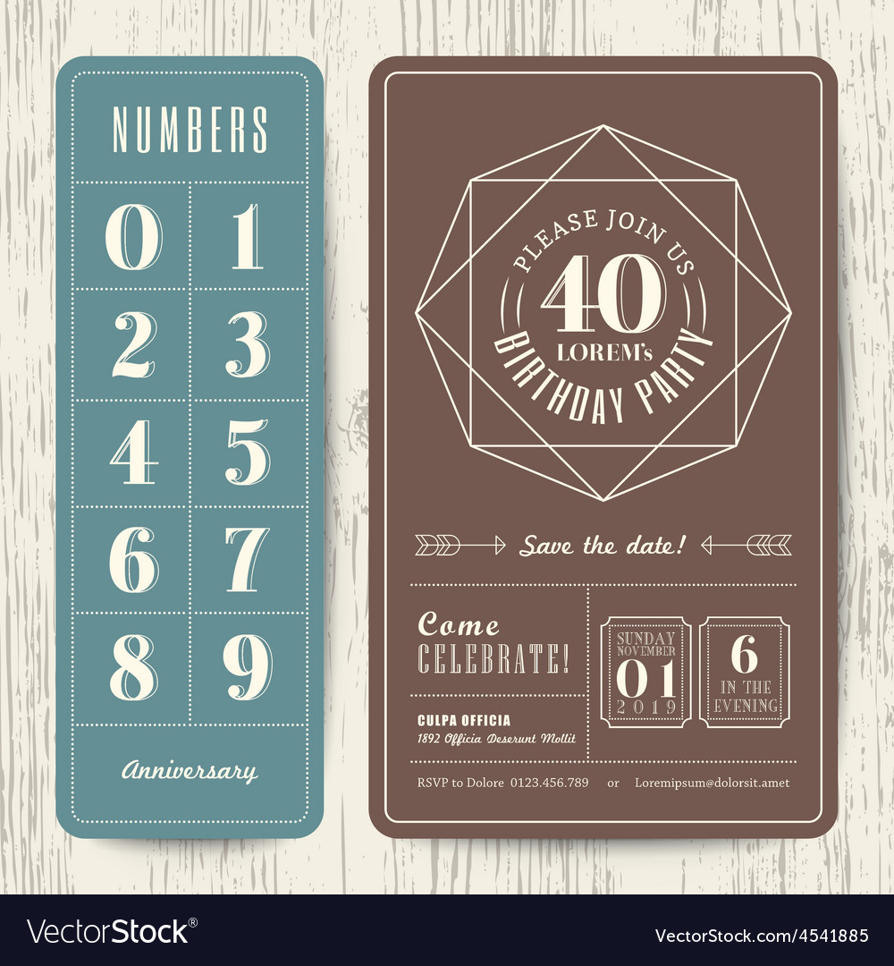 Retro birthday party invitation card vector