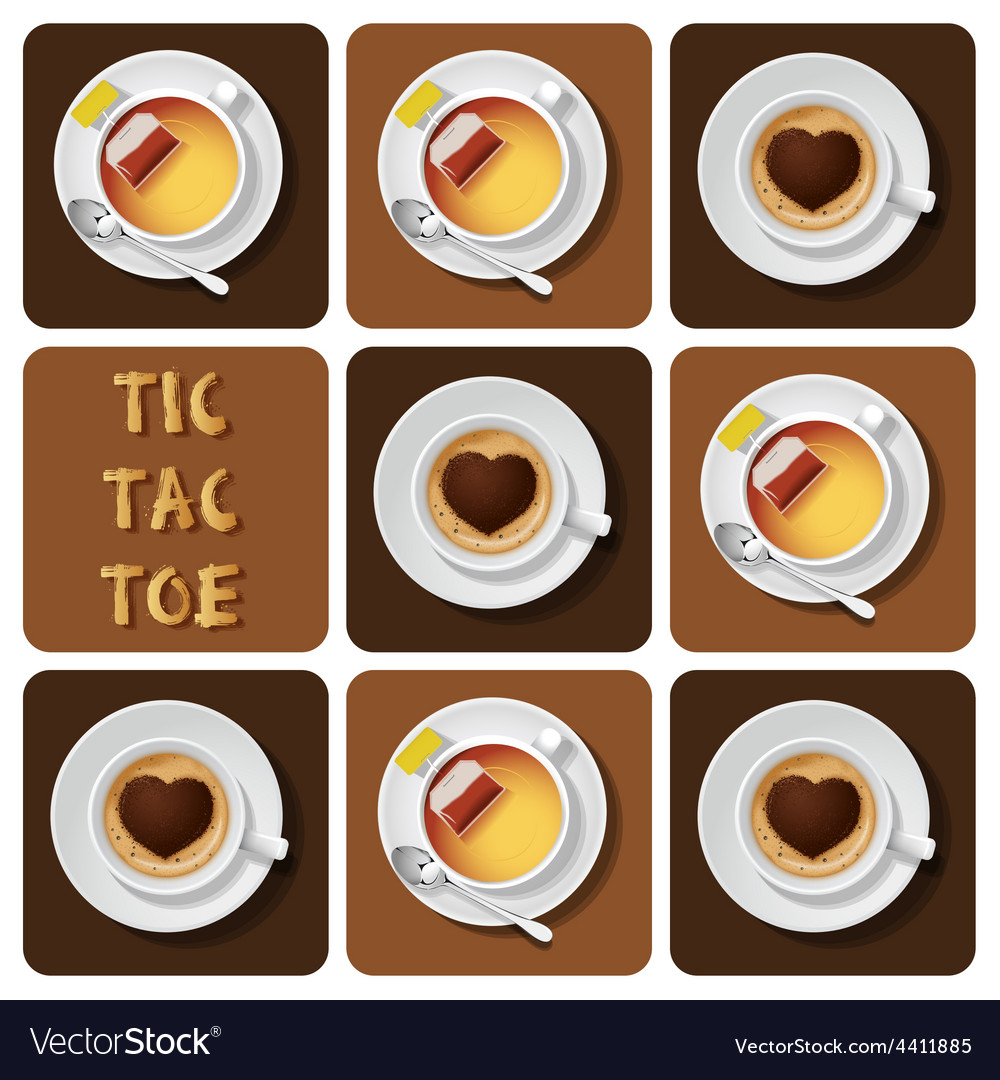 Tic-tac-toe of cappuccino and tea vector | Price: 3 Credit (USD $3)
