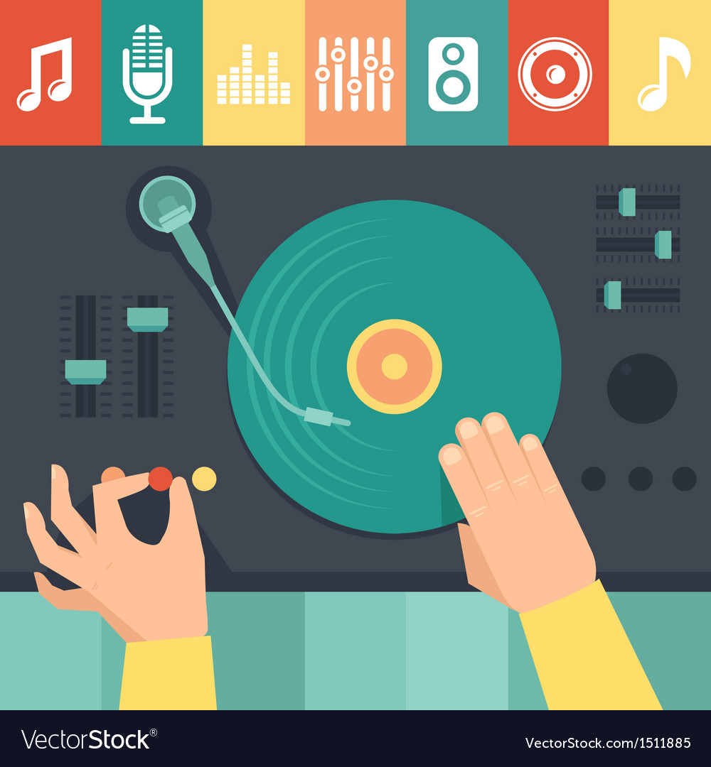 Turntable and dj hands vector | Price: 1 Credit (USD $1)