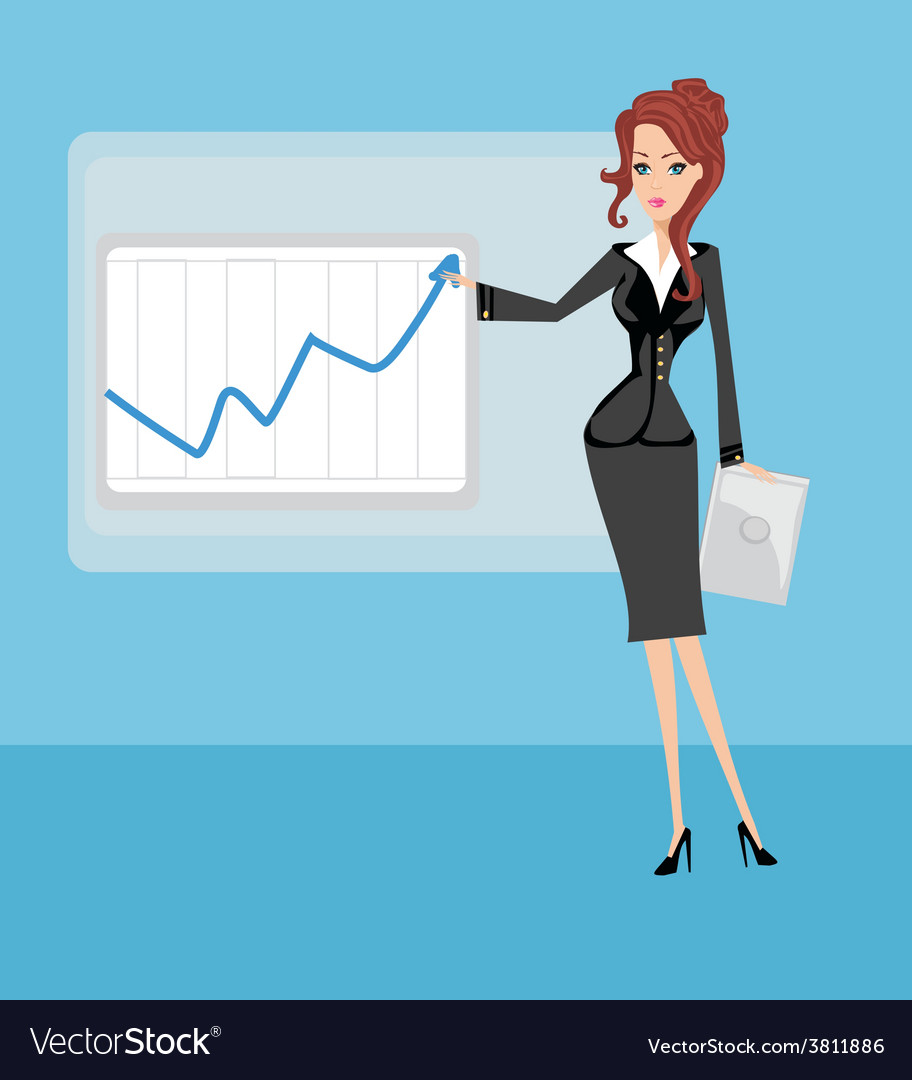 Cartoon of a business woman pointing to rising vector | Price: 1 Credit (USD $1)