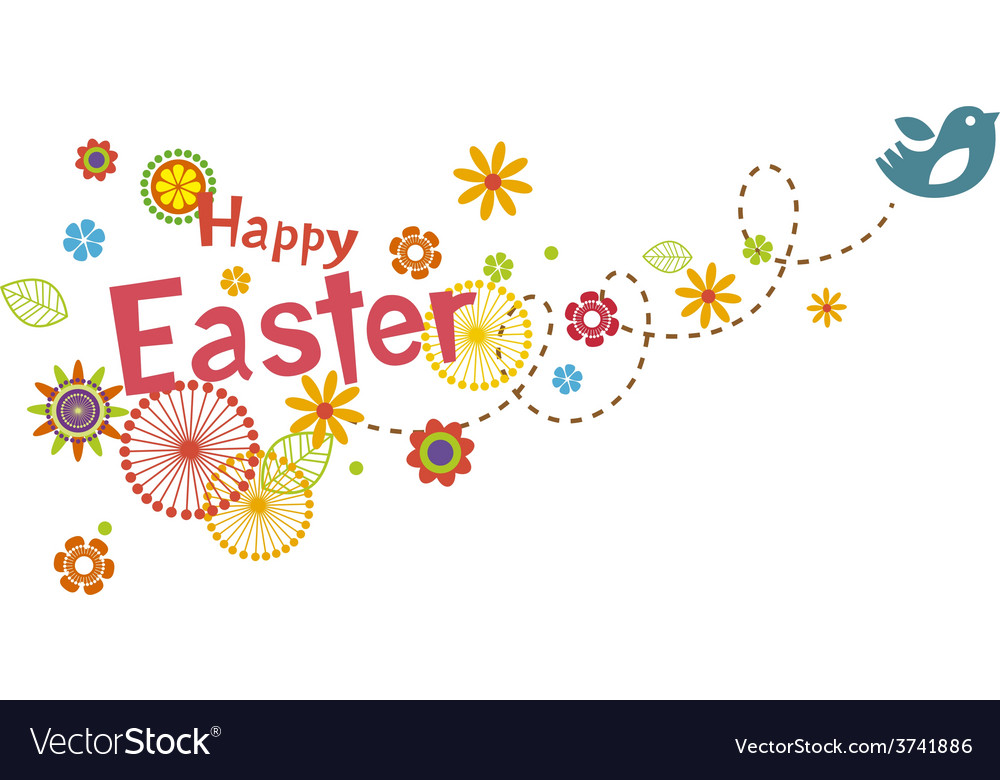 Easter greeting card with cute little bird vector   Price: 1 Credit (USD $1)