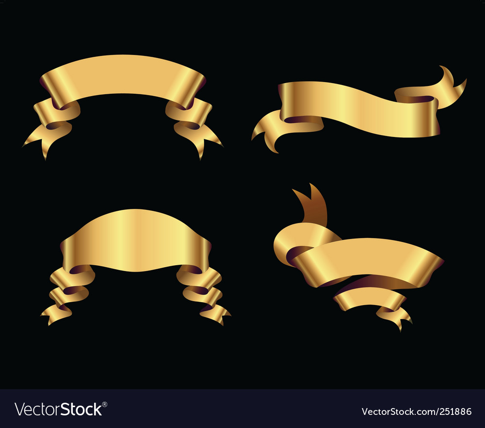 Golden ribbons on black background vector | Price: 1 Credit (USD $1)