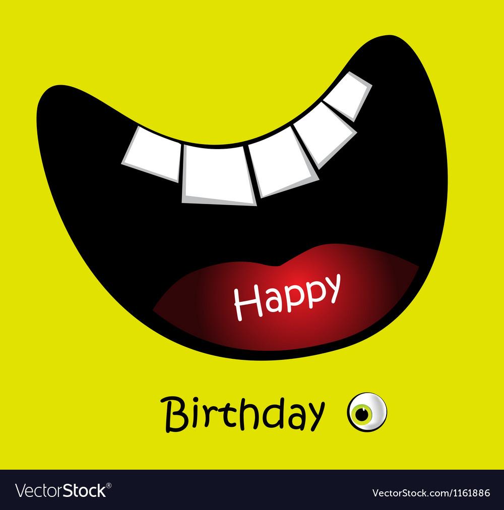 Happy birthday card big smile funny vector | Price: 1 Credit (USD $1)