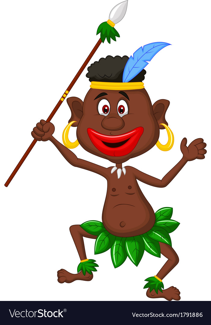 Happy indigenous people cartoon dancing vector | Price: 1 Credit (USD $1)