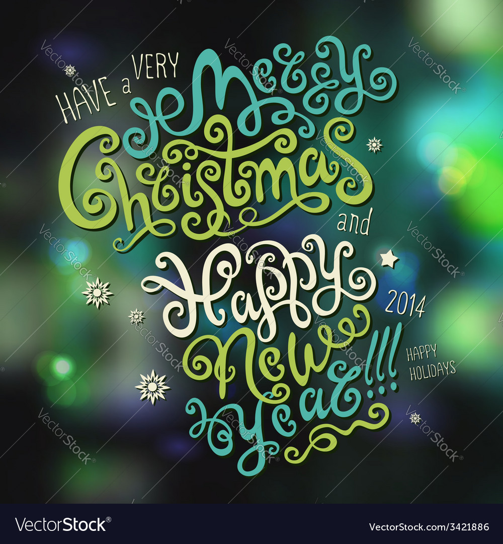 Merry christmas and happy new year hand drawn vector | Price: 1 Credit (USD $1)