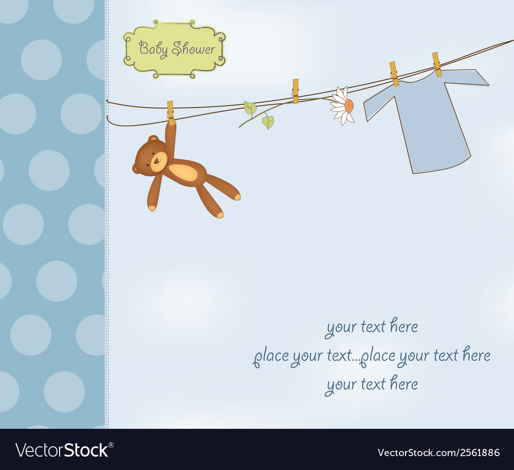 New baby boy shower card vector   Price: 1 Credit (USD $1)