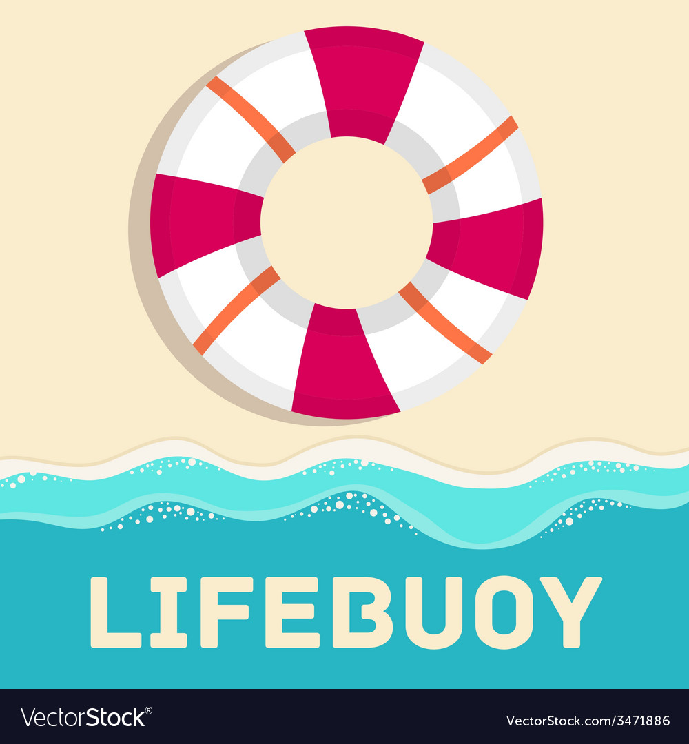 Retro flat lifebuoy icon concept design vector | Price: 1 Credit (USD $1)