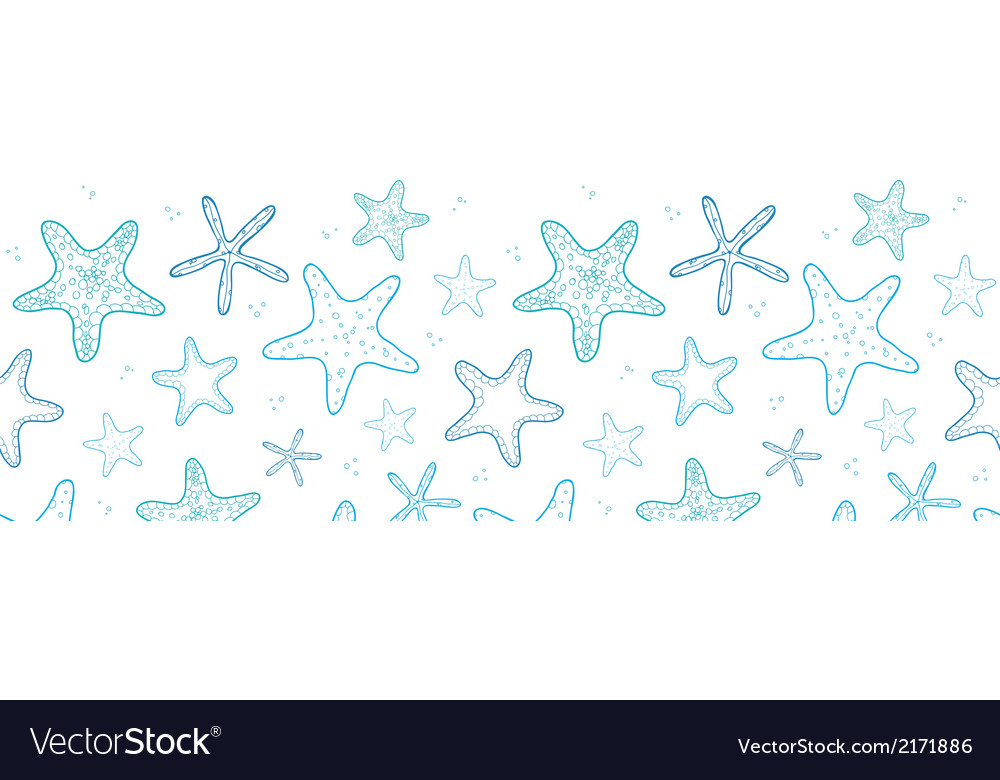Starfish blue line art horizontal seamless pattern vector | Price: 1 Credit (USD $1)