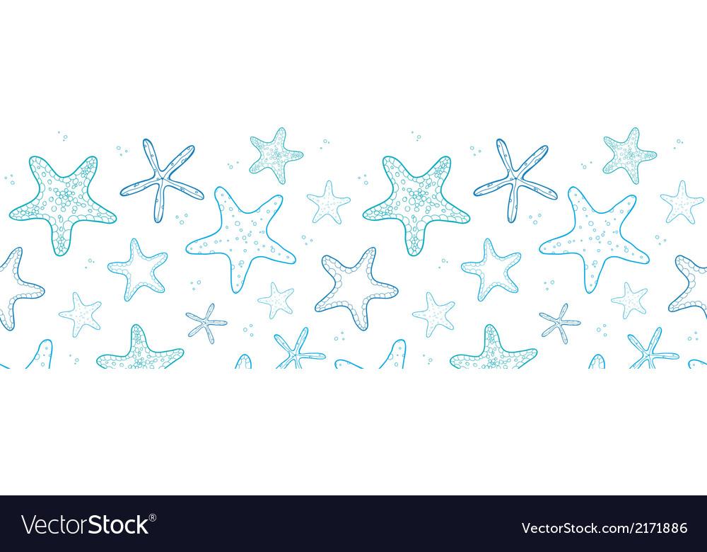 Starfish blue line art horizontal seamless pattern vector | Price: 1 Credit (USD $1)