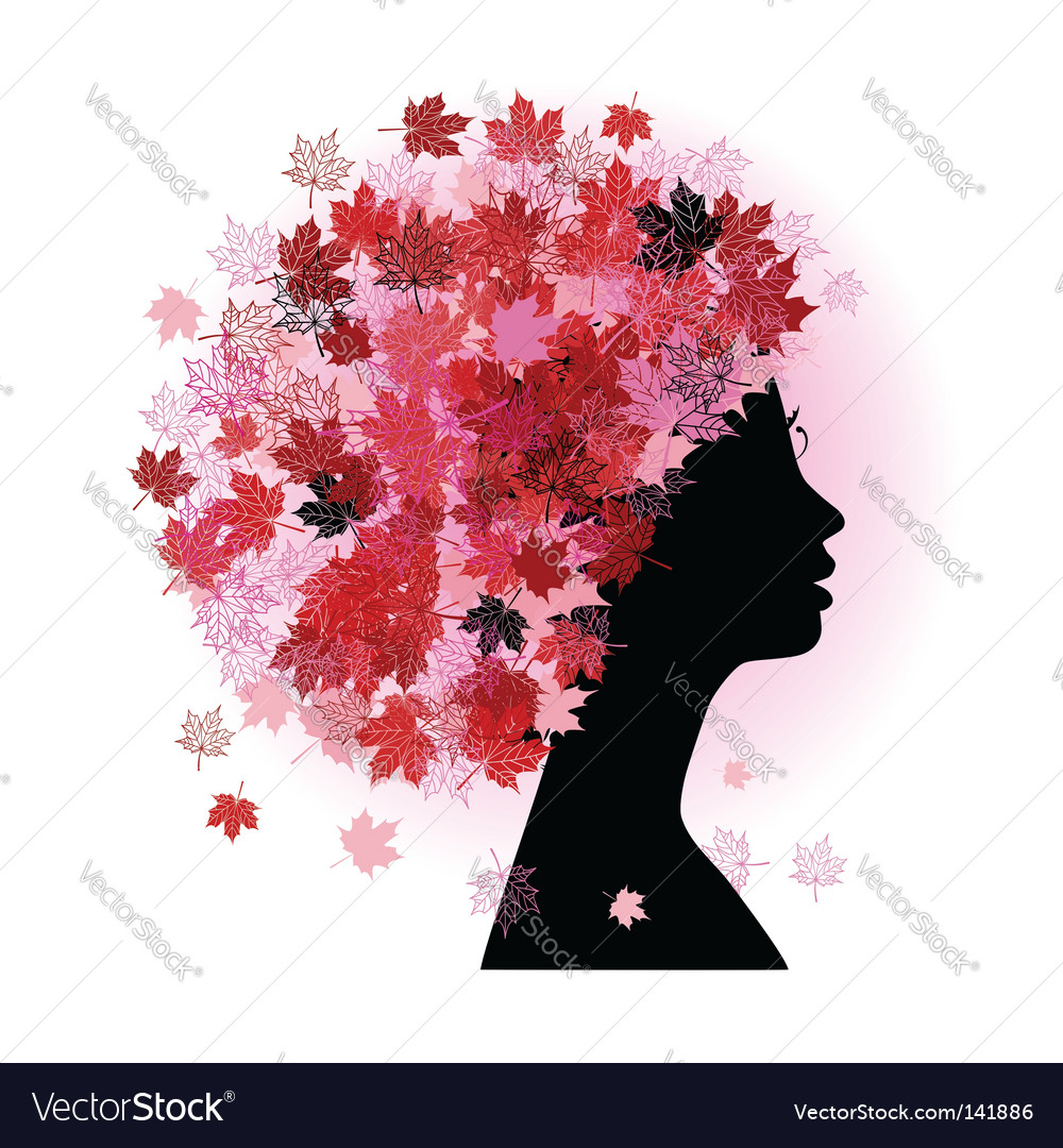 Stylized woman hairstyle autumn season vector | Price: 1 Credit (USD $1)