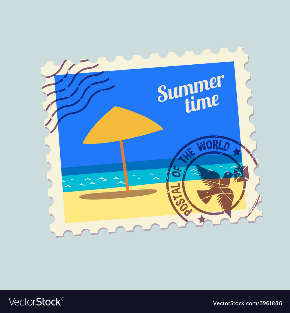 Summertime holidays postmark vector | Price: 1 Credit (USD $1)