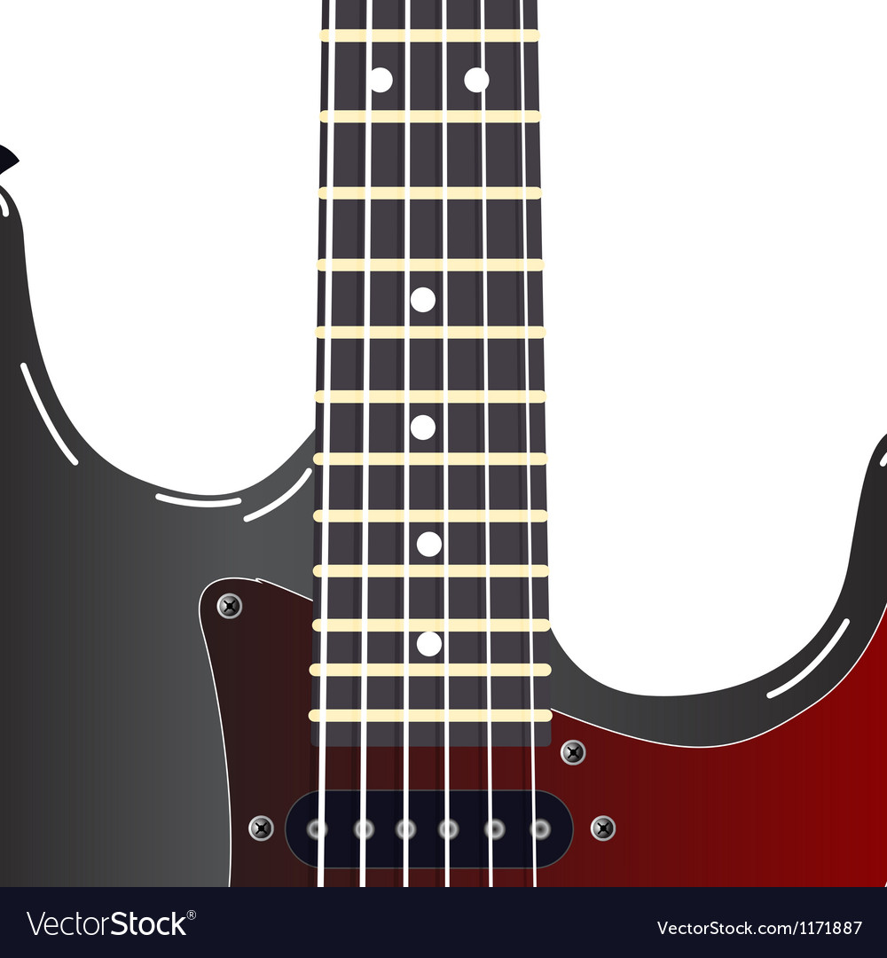 Black electric guitar on a white background vector | Price: 1 Credit (USD $1)