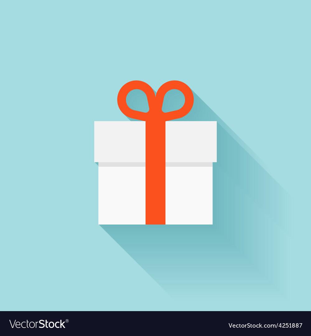 Flat gift box icon vector   Price: 1 Credit (USD $1)