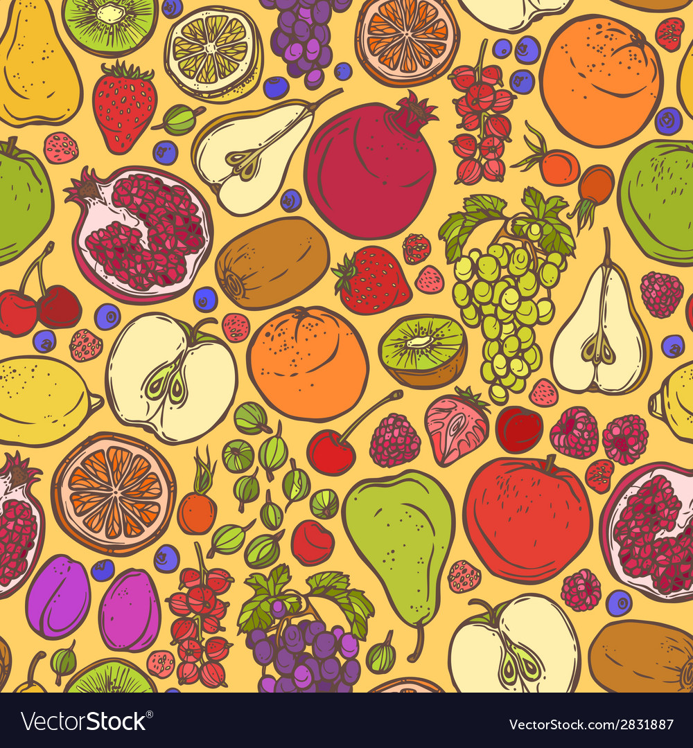 Fruits and berries sketch seamless pattern vector | Price: 1 Credit (USD $1)