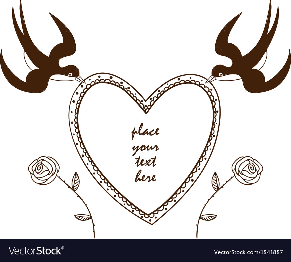 Heart frame with swallows and roses vector | Price: 1 Credit (USD $1)