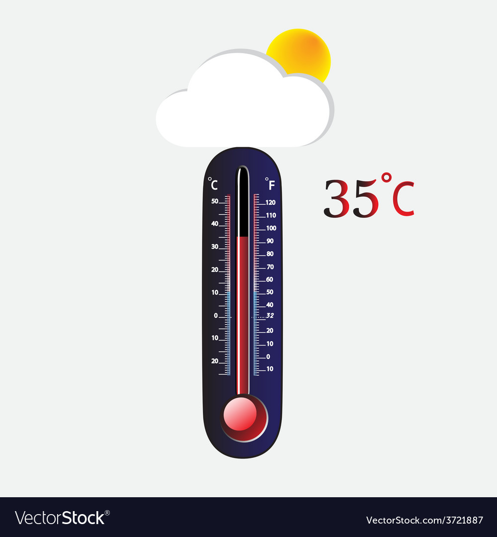 Hot thermometer vector | Price: 1 Credit (USD $1)