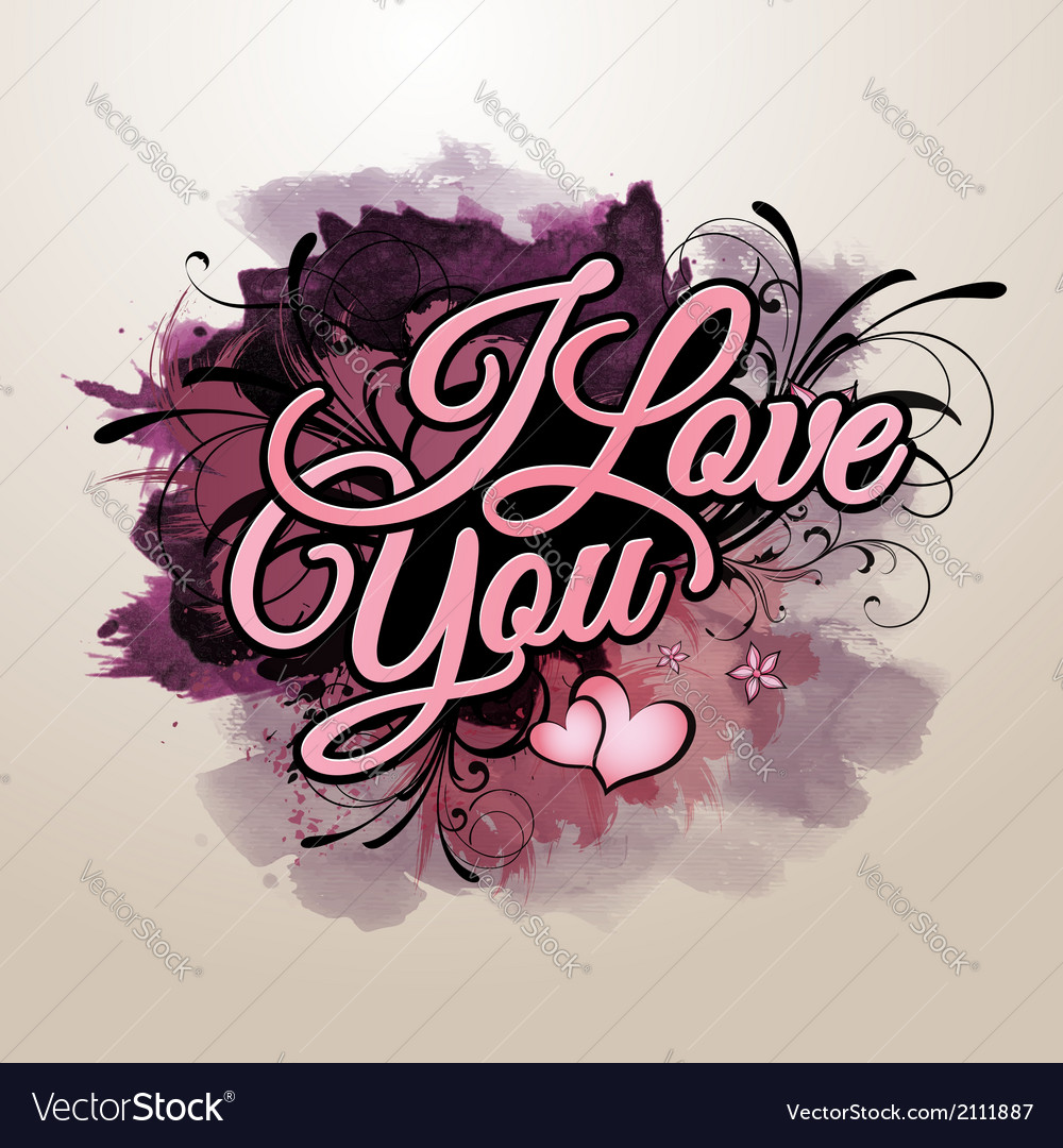 I love you inscription vector | Price: 1 Credit (USD $1)