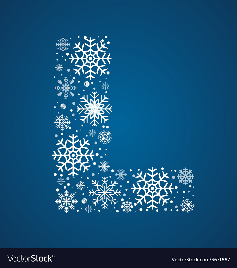 Letter l font frosty snowflakes vector | Price: 1 Credit (USD $1)
