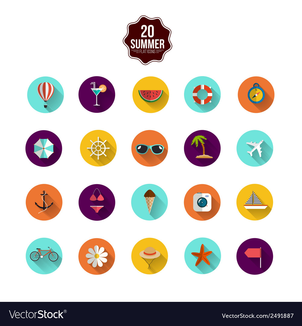 Summer flat icons vector | Price: 1 Credit (USD $1)