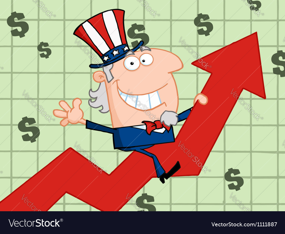Waving uncle sam riding a growth arrow vector | Price: 1 Credit (USD $1)