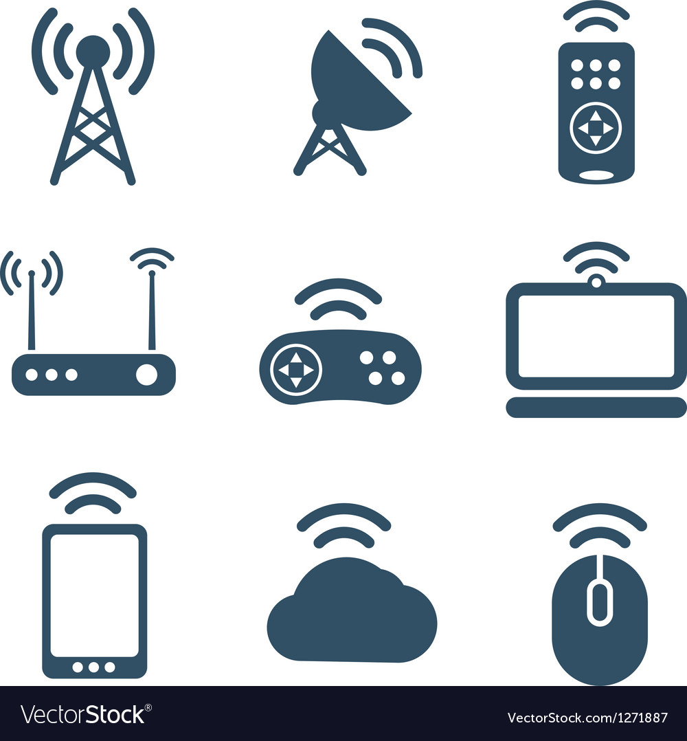 Wireless equipment icons collection vector | Price: 1 Credit (USD $1)