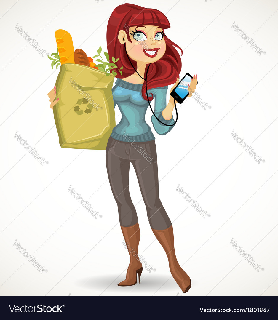 Woman with the health food package and phone vector | Price: 3 Credit (USD $3)