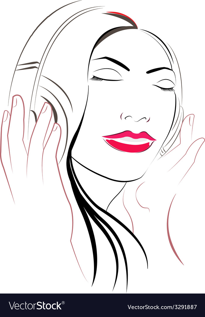 Women listioning music vector | Price: 1 Credit (USD $1)