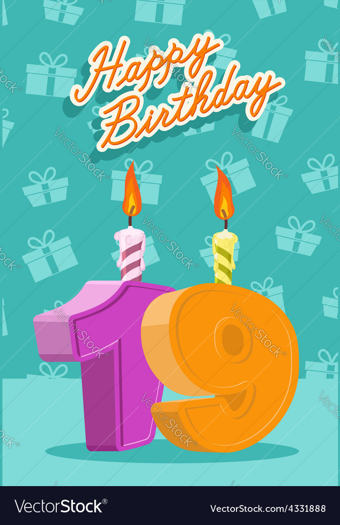 Birthday candle number 19 with flame vector | Price: 1 Credit (USD $1)
