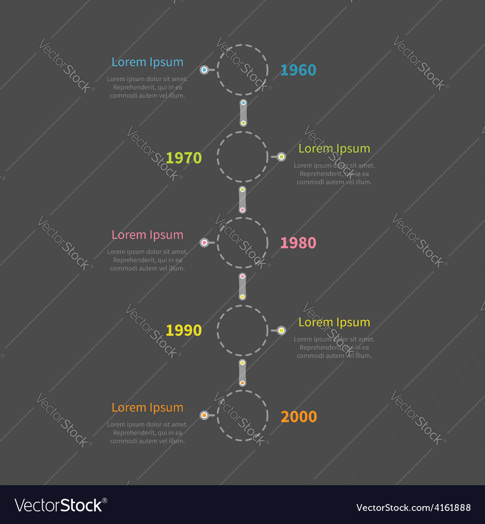 Dash line round icon timeline vertical infographic vector | Price: 1 Credit (USD $1)