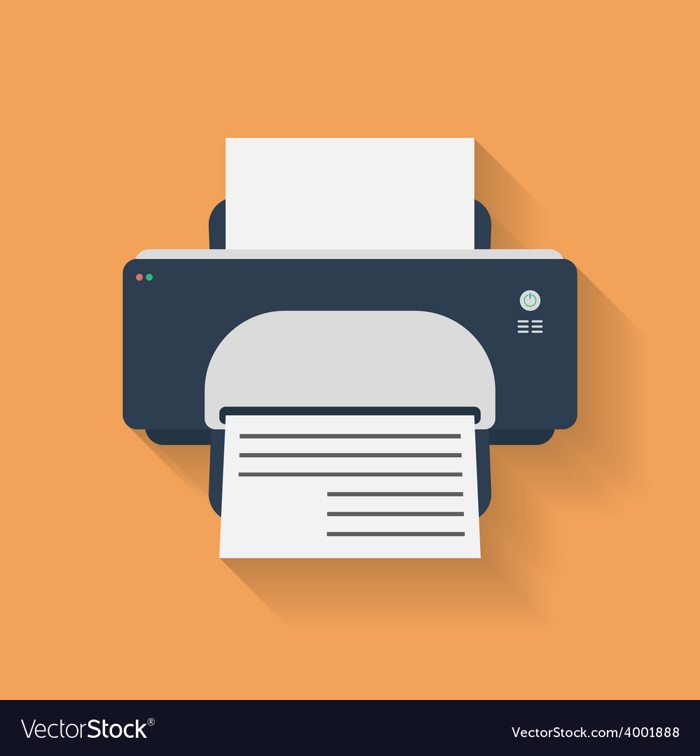 Icon of printer flat style vector | Price: 1 Credit (USD $1)