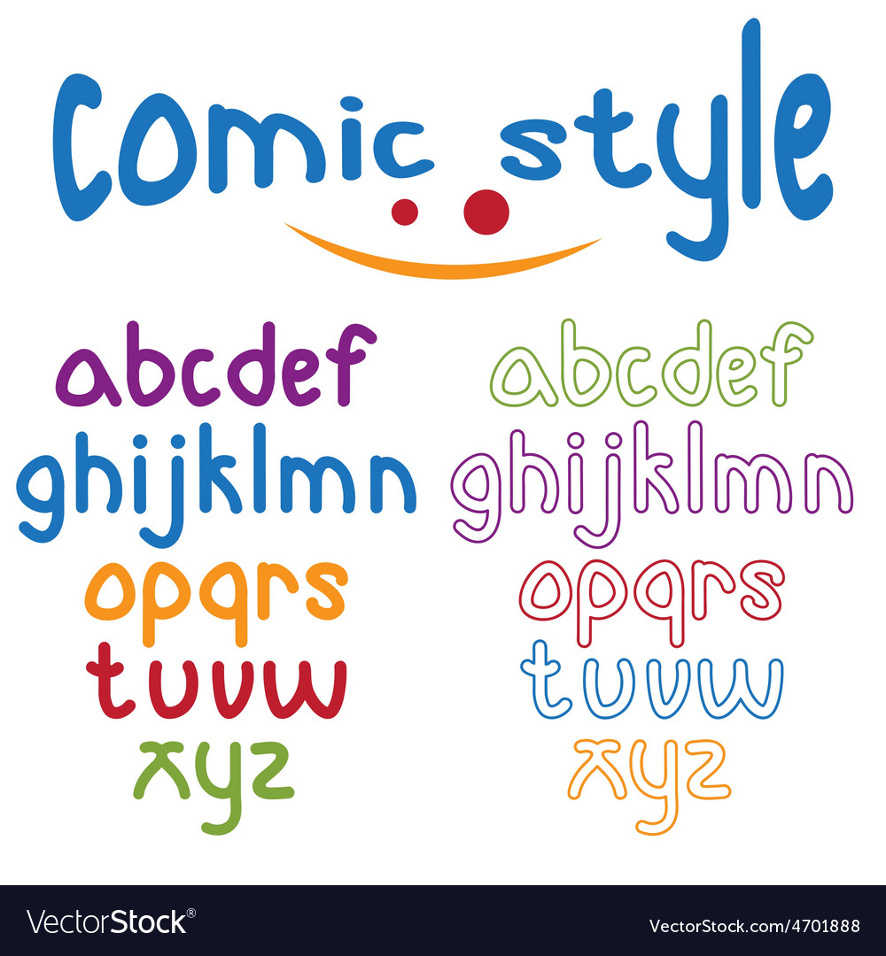 Lowercase comic style alphabet vector | Price: 1 Credit (USD $1)