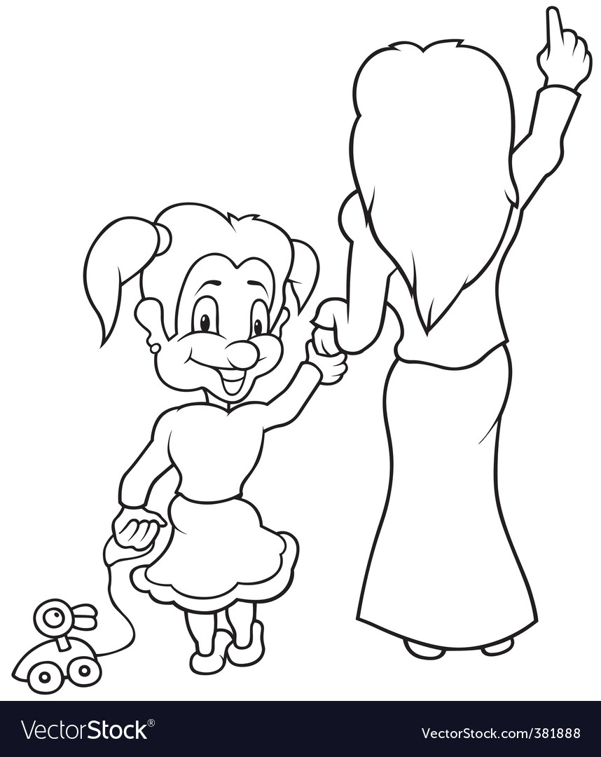 Mother and little girl vector | Price: 1 Credit (USD $1)