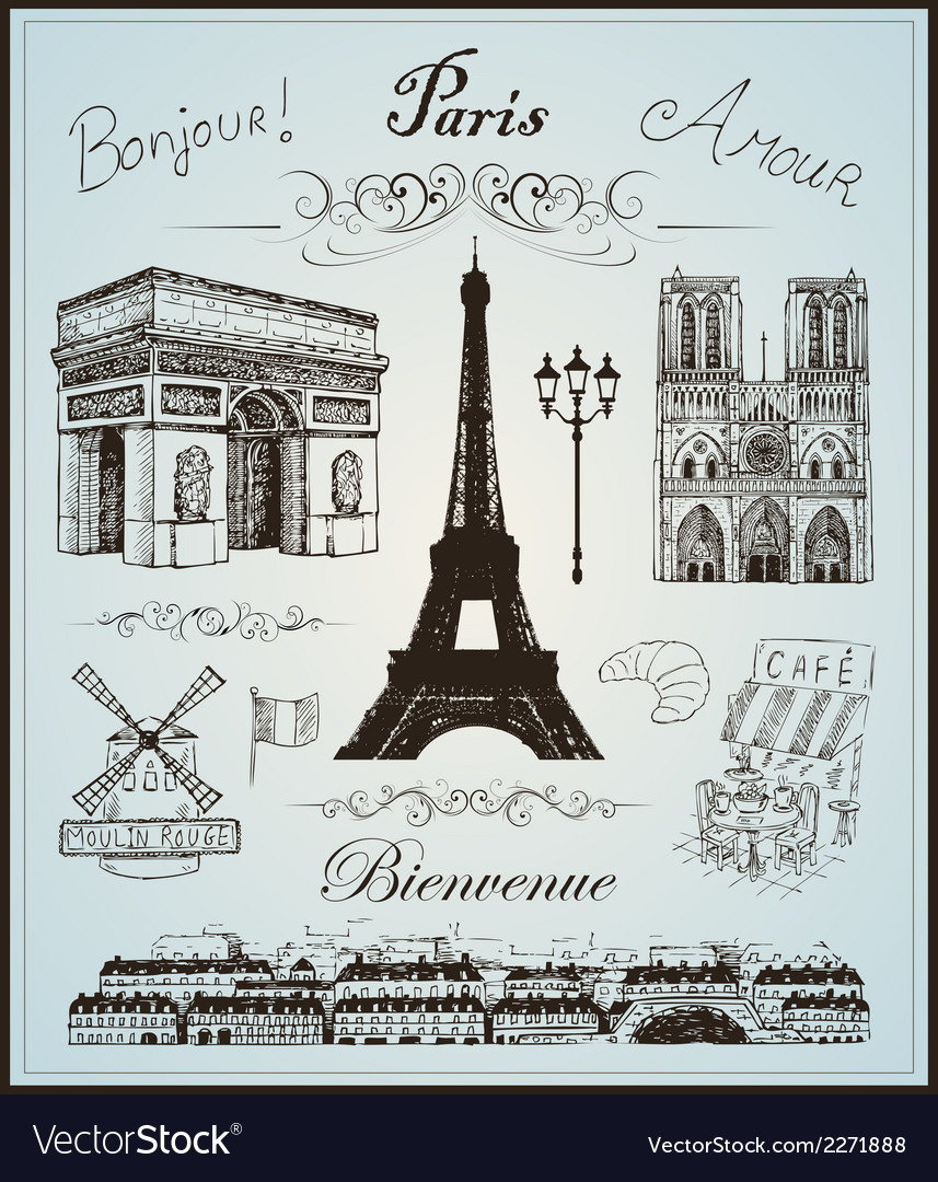 Paris collection elements hand drawn vector | Price: 1 Credit (USD $1)