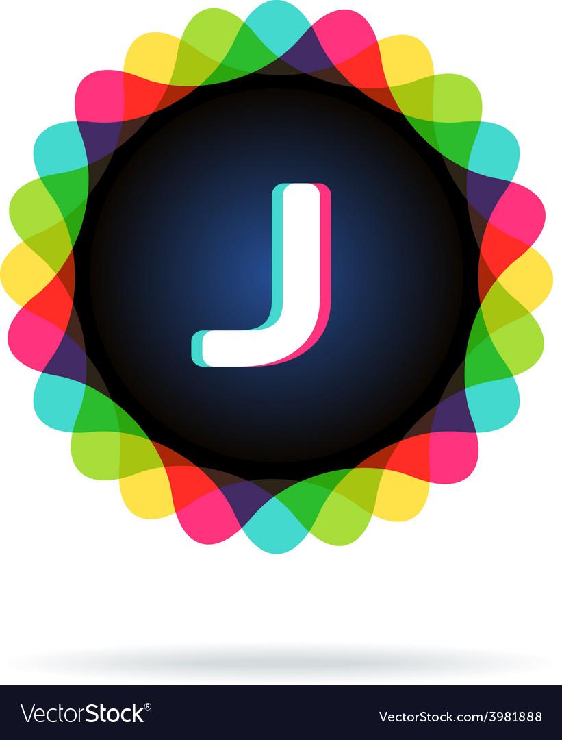 Retro bright colors logotype letter j vector | Price: 1 Credit (USD $1)