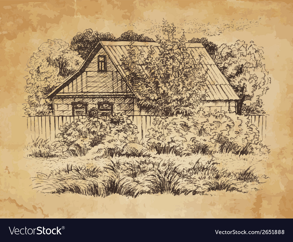Rural landscape with old farmhouse vector | Price: 1 Credit (USD $1)