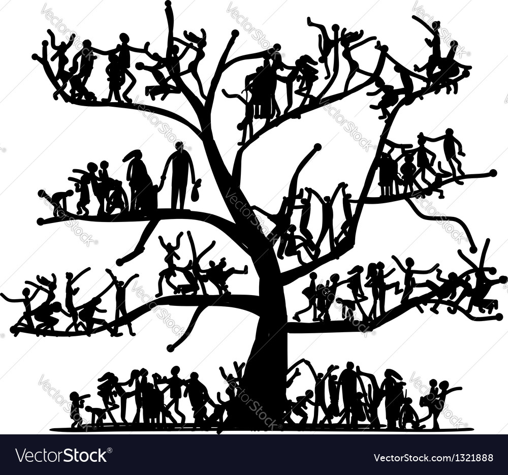 Tree of people sketch for your design vector | Price: 1 Credit (USD $1)