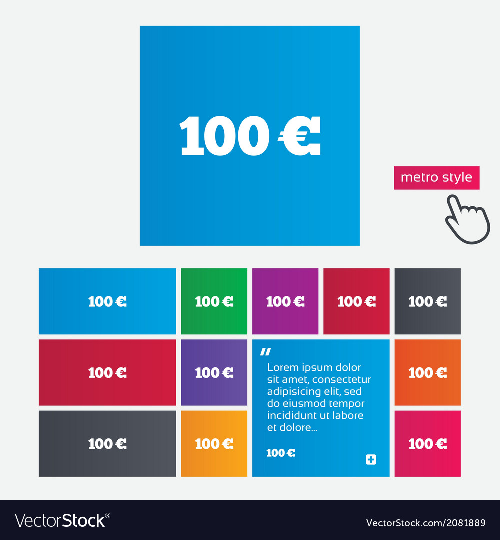 100 euro sign icon eur currency symbol vector   Price: 1 Credit (USD $1)