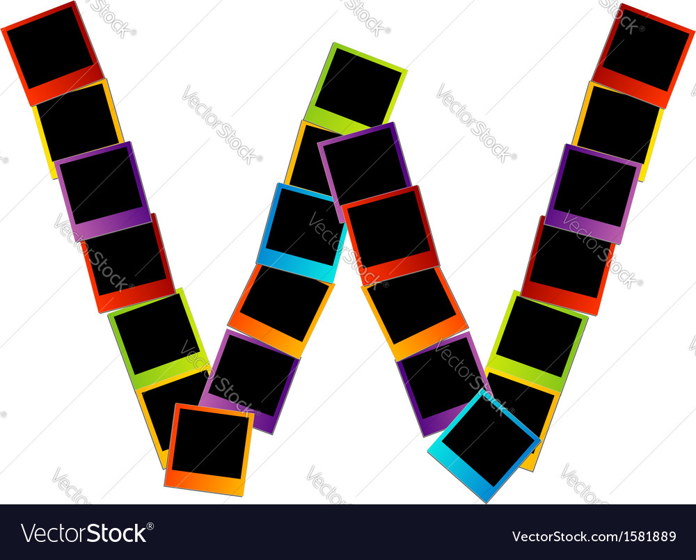 Alphabet w with colorful polaroids vector   Price: 1 Credit (USD $1)